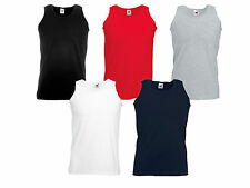 Mens Fruit of the Loom Cotton Plain Athletic Vest Tee Summer Pack 3