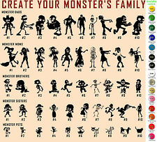 Monsters Family Vinyl Decal Sticker Car Window Create your family Dads Moms Kids