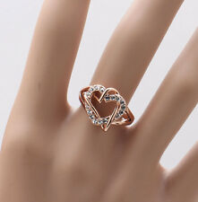 Heart Wedding Ring 18K Rose Gold Silver Plated Austrian Crystals #324-342
