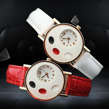 Girl's Glitzy Ellipse Love Heart Faux Leather Band Quartz Student Wrist Watch