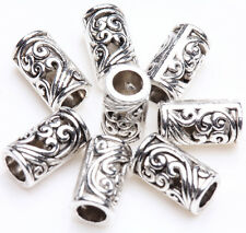 Hot 25/50Pcs Tibetan Silver Floral Carved Tube Charms Loose Spacer Beads 8x5mm