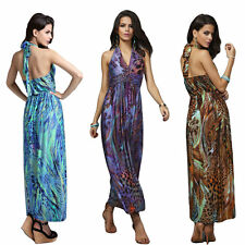 Sexy Women Summer Boho Maxi Dress Party Halter V-Neck Long Beach One Size