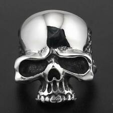 Solid 316L Stainless Steel Huge Skull Mens Biker Rocker Punk Ring 3R001E