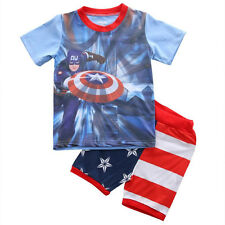 Captain America Sport Kids Baby Boy T-shirt Shorts Pants Overall Outfit Clothes