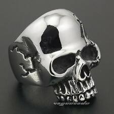 Huge Solid 316L Stainless Steel Skull Mens Biker Rocker Punk Ring 4V039E