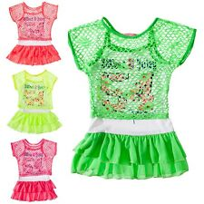 24brands GIRLS Dress Summer Party Dress 2 in 1 Dress & Net T-Shirt New