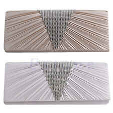 Women SATIN Diamante Pleated Clutch Bag Bridal Evening Party Handbag Purse New