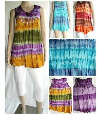 Women Tie Dye Embroidered Tunic Tops Sun dress  Beach Summer Teen S/M/L/XL