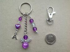 Personalised Initial Letter Guardian Angel Keyring Bag Charm, Godmother gift.