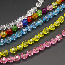 30-50pcs 6MM/8MM Ball Loose Round Glass Crystal Beads for Bracelets Necklaces