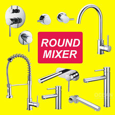 Round Tall Basin Kitchen Faucet Top Taps Shower Mixer Water Spout Hot Cold Tap