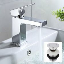 Modern Basin Sink Tap Square Mixer Chrome Mono Luxury Bathroom Cloakroom Faucet