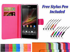 Magnetic PU Leather Wallet Book Flip ID Case Cover For Sony Xperia Mobile Phones
