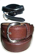 """Men's Black / Brown Leather Dress Belt 1 1/4""""  Double Stitching Casual Jeans"""