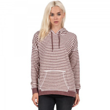 VOLCOM LIVED IN STRIPE PULLOVER HOODIE COGNAC WOMENS CASUAL JUMPER CLEARANCE