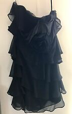 NEW Ladies Black Strapless Ruffle Evening Dress - Eoipuuiss - Size Small