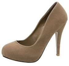 Top Moda Taupe Faux Suede Pumps Sexy High Heel Womens Shoes Apple-66