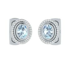 2.90 ct Real Oval Cut Blue Aquamarine & Certified Diamond Solid Gold Cufflinks