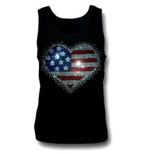 Women's  T-shirts rhinestones Iron on 4Th of July Heart usa flag Small to 3XL