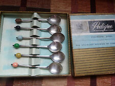 Vintage box of Art Deco style EPNS coffee bean spoons, multi colour England