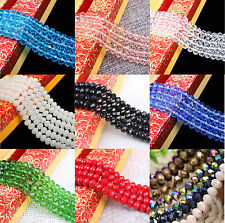 "16-22""Strand Crystal Czech Glass Rondelle Faceted Loose Spacer Bead 4/6/8/10MM"