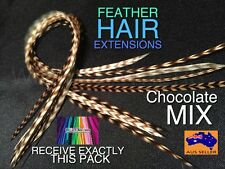 Real Feather Hair Extension Naturals Pack beads Tool Chocolate 8 + 2FREE postage