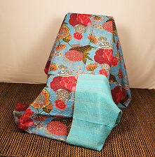 Indian Handmade Quilt Vintage Kantha Bedspread Throw Cotton Blanket GudrI blue