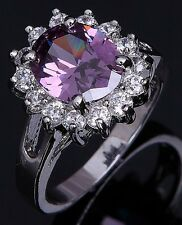Fashion Jewelry Size 6,7,8,9,10 Womens 18K Gold Filled Amethyst Wedding Rings