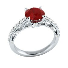 1.30 ct Natural Ruby & Certified Diamond Solid Gold wedding Engagement Ring