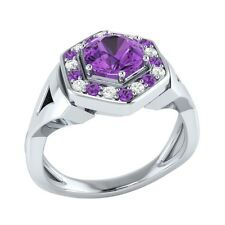 0.80 ct Real Amethyst & Certified Diamond Solid Gold wedding Engagement Ring