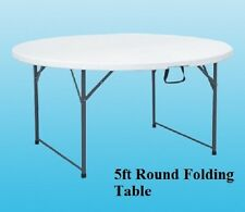 HEAVY DUTY FOLDING TABLE 5FT ROUND CAMPING PICNIC BANQUET PARTY GARDEN WHITE