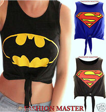 WOMEN'S NEW LADIES COMIC SUPERMAN TIE UP CROP VEST TANK TOP TEE SHIRT SIZE /8-14