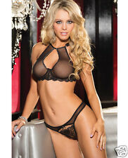 Shirley Of Hollywood Black Sheer & Lace Bra & Panty Set w/Underwire Cups