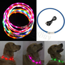 Waterproof Rechargeable USB/LED Flashing Light Band Belt Safety Pet Dog Collar