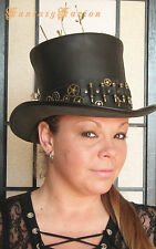 Steampunk Hat Post-Apocalyptic Gears and Bullets Band Leather HIGH Top Hat