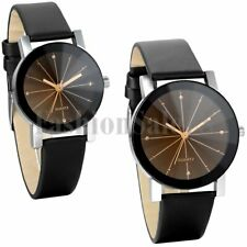 Unisex Classical Round Rhinestone Dial Leather Strap Quartz Couples Wrist Watch