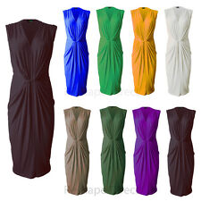 Womens ladies V neck low cut ruched waist knot midi dress bodycon party dress