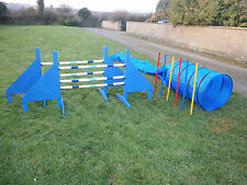 NEW DOG AGILITY SET, 2 JUMPS, TUNNEL, 6 WEAVE POLES,