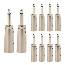 """Hot 3P XLR Male Jack to 1/4"""" 6.35mm Male Plug Stereo Microphone Adapter Silver"""