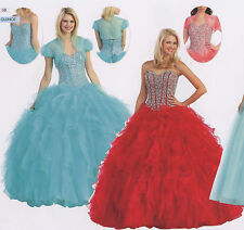 Quinceanera Ball Gown Dress Party Prom Evening Cocktail Pageant Organza W/BOLERO