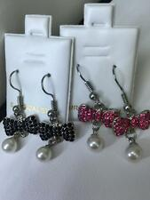 NEW! Surgical Steel Bow Ribbon Black and Pink CZ Crystals Pretty Pearl Earrings