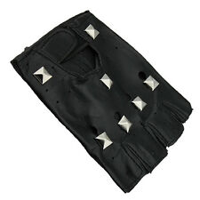 Punk Style Man's Genuine Leather Rivet Half Finger Gloves Cycling Bicycle Gloves