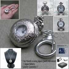 Silver Classic Ladies Pendant Watch Quartz Key Chain Necklace Gift Box L20