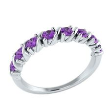 0.40 ct Natural Purple Amethyst Solid Gold Half Eternity Wedding Band Ring