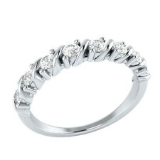 0.40 ct Natural Round White Topaz Solid Gold Half Eternity Wedding Band Ring