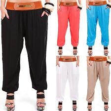 Ladies Fabric Summer Sports Pants Aladdin Pump Harem Sexy Hot in 7 colours