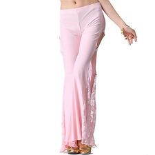 Belly Dance China Knot Lace Split Pants Dancing Tribal Crystal Cotton Costume