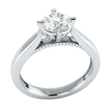 0.60 ct Solitaire Natural White Sapphire Solid Gold Wedding Engagement Ring