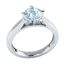 0.60 ct Solitaire Natural Blue Aquamarine Solid Gold Wedding Engagement Ring