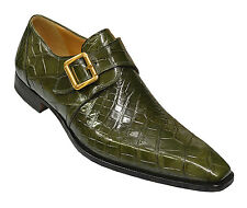 Mauri ITALY Green Alligator Skin Monk Strap Buckle Formal Plain Toe Dress Shoes